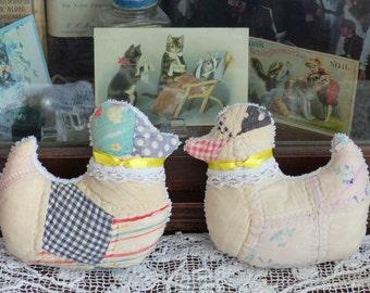 Antique Quilt Little Ducks Chicks Peeps Sachet pillows, Lavender Easter b
