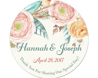 Custom Wedding Labels Personalized Pastel Floral Bouquet Watercolor Flowers Round Glossy Designer Stickers - Quantity 100