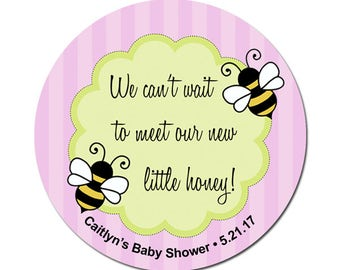 Custom Baby Girl Shower Labels Little Honey Bees Personalized Round Glossy Designer Stickers