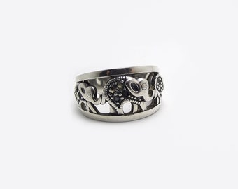Silver Sterling Elephant Ring, sz 6, 925, Baby Elephant, Trinity, Family of 3, Mom and kids