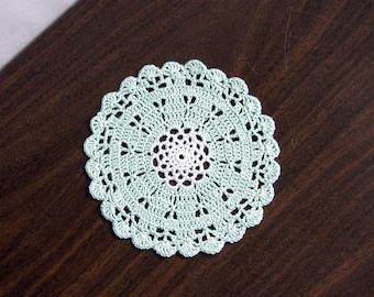 Small Scallop Shell Crochet Lace Doily, Mint Green Decor, Cottage Chic Table Accessory, Petite Accent Decor