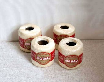 Cotton Crochet Thread Clark's Big Ball, 4 Cream Color Balls, Size 30, 500 Yards Each, New Old Stock, Made in USA, Factory Sealed, Destash