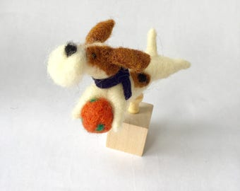 Needle Felted Fox Terrier Dog on a Cube