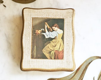 Vintage 50s 60s Oil Painting Gold Florentine Jewelry Box