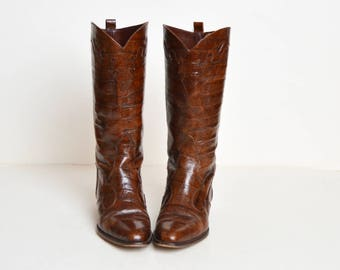 Vintage 90s Brown Croc Embossed Leather Riding Boots / 1990s Tall Tassel Boots 8 1/2