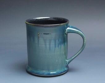 Pottery coffee mug, ceramic mug, stoneware tea cup navy blue 14 oz 3960