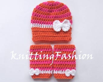 Crochet Baby Girl Outfit_ Baby Girl Stripe Hat and Leg Warmers_Newborn Girl Hospital Outfit _Newborn Baby Photo Props