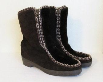 40% OFF SALE Vintage 1970's Faux Fur Mukluks Boots / 70's Ankle Boots Eskimo Inuit Snowland Winter Boots / Size 7 US Woman's