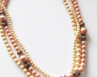 ON SALE NOW Vintage 1950's Beaded Necklace / Layered Creamy-Ivory & Mauve Pink Faux Pearl Choker Necklace Bridal Wedding