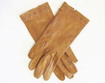 ON SALE NOW Vintage 1950's Brown Soft Kid Leather Wrist Gloves