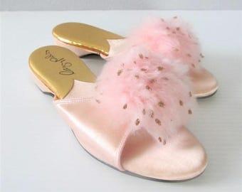 40% OFF SALE Vintage 1960's Pink House Slippers / Fluffy Pom Pom Silk Satin Lady Pals Open Toe Shoes / Size 6