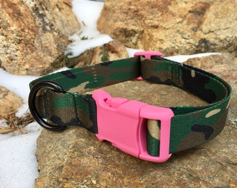 Dog Collar - Woodland Camo with Pink Buckle