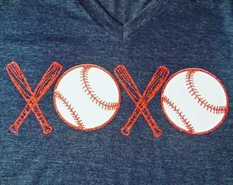 Baseball Love Shirt, XOXO Baseball Shirt, Woman's Baseball Shirt, Baseball Shirt, Love Baseball Shirt, Softball Shirt, Baseball Mom Tee
