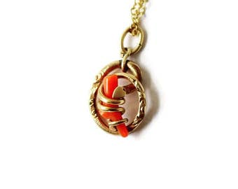 Antique Victorian Coral Love Knot Charm c.1880s