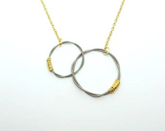 Silver + Gold Guitar String Infinity Circle Necklace | Handmade Recycled Jewelry | Recycled Guitar Strings