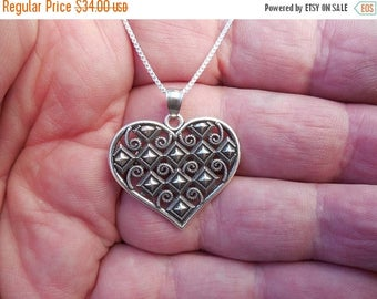 ON SALE Heart necklace in sterling silver