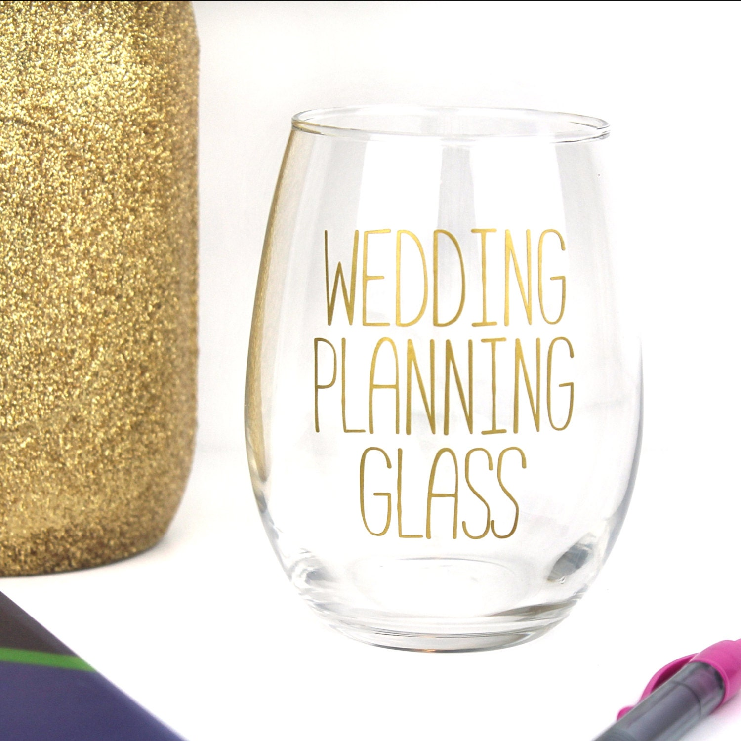 Wedding Planning Gifts For Bride: Wedding Planning Wine Glass Stemless Wine Glass Bride Gift