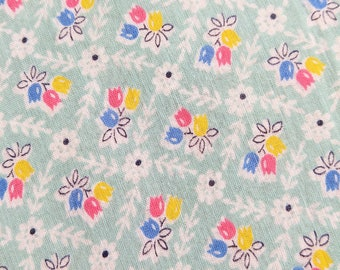 Vintage 1920's Batiste Fabric - Calico Blue Pink Yellow Tulips on Light Aqua Background  - Half Yard