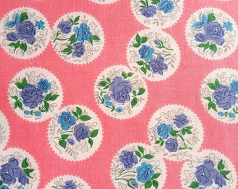 "Vintage Fabric 1930's - Blue And Purple Roses On Pink - Material - 36"" Cotton"