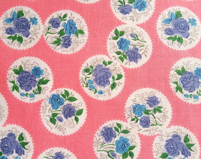 """Vintage Fabric 1930's - Blue And Purple Roses On Pink - Material - 36"""" Cotton"""