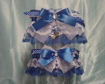 Royal Blue Disney Inspired Mickey & Minnie Mouse Wedding Garter Set
