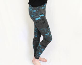 Cat Stampede Printed High Waisted leggings Grey Black and Blue