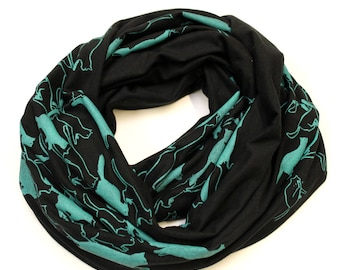 Cat Stampede Cotton Jersey Infinity Scarf Black and Turquoise