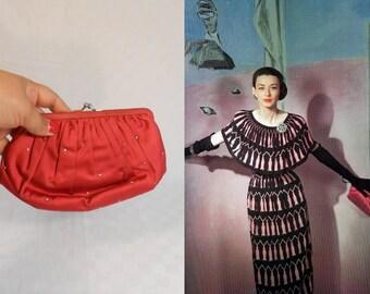 Up Against the Odds - Vintage 1950s Lipstick Red Satin Clutch Handbag Rhinestone Details