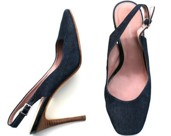 Vintage Calvin Klein Dark Blue/Brown Denim Fabric Slingback Classic Dress Shoes Sz 6.5