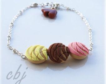 Concha Bracelet, Sweet Bread Concha Bracelet, Polymer clay conchas