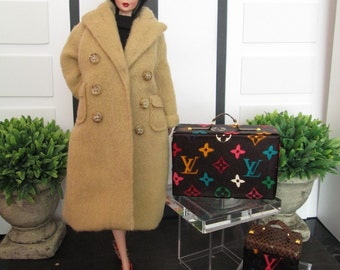 BROWN MULTICOLOR LUGGAGE for Silkstone Barbie, Poppy Parker, Victoire Roux, Blythe, Fashion Royalty - Faux - Replica-Fake- Louis Vuitton