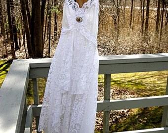 Size medium US size 12 Floor length white hi-lo bohemian boho gypsy hippie wedding dress, formal dress, 37-38 inch bust, Lily Whitepad