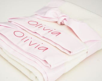 Organic Baby Girl Blanket -- Light Pink -- Free Personalization