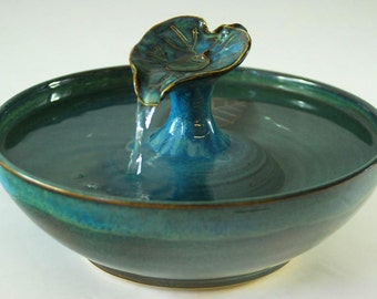 "REDUCED - Cat Water Fountain - ""Flowing Blue Leaf"""