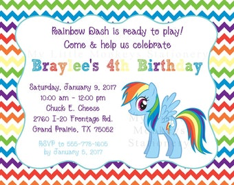 10 My Little Pony Rainbow Dash Invitations with Envelopes.  Free Return Address Labels