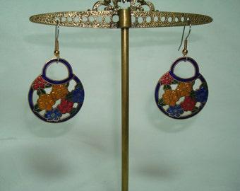 Vintage Cobalt Blue Cloisonné Bouquet of Red Gold and Blue Flowers Pierced Earrings.