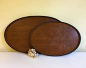 Vintage Faux Wooden Platters, Trays, Set of 2, Large and Small, Mid Century Decor