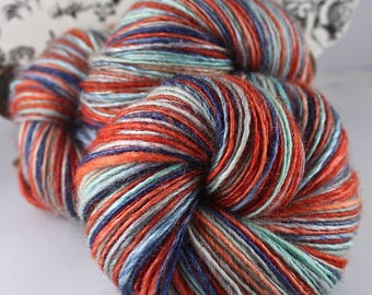Handspun Yarn Gently Thick and Thin Fine Sport Single Blue Faced Leicester and Tussah Silk Blue Moon Fiber Arts 'Skyrocketing Puddle Jumper'
