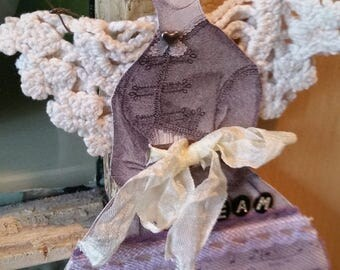Paper doll winged angel - Purple, crochet, lace, collage, dream art