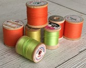 Vintage Wooden Spools Rainbow Sherbet Thread Lot