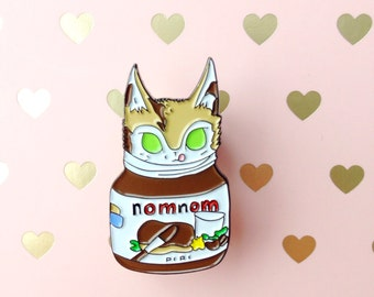 SALE - Mags the kitten enamel pin! Nutella hazelnut spread cat pin. Cute!