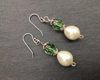 Pearl Earrings, Peridot Green Crystal Earrings, Sterling Silver Pearl Dangle Earrings, CLEARANCE SALE