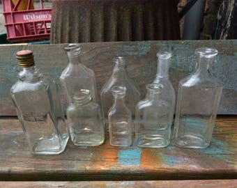 8 Vintage bottles  glass antique bottles jars Doctor Apothecary Medicine collection