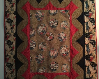 Japanese Geisha Girls quilt wall hanging or sofa throw