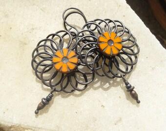 RESERVED!!!Spring Flower Orange Rustic Copper Earrings