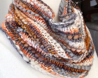 Bronze, Copper, Orange, Gray & White Hand Knit Cowl, Chunky Cowl, Collar Cowl, Neckwarmer, Brown Orange neck warmer, gift for her,