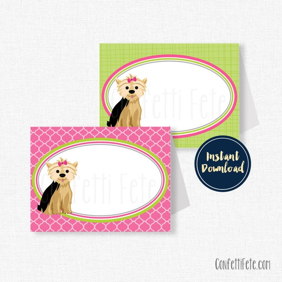 Dog Buffet Cards Place Cards Yorkie Food Labels Puppy Party