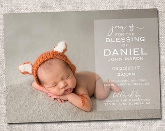 LDS Blessing invitation, LDS Baby Blessing invitation, baby blessing invite, boy, modern baby blessing invitation: PRINTABLE (Daniel)