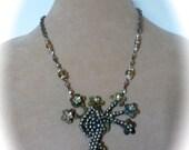 Pre Holiday sale Assemblage Pendant Necklace Flower Bouquet in Vintage Steel Cut on Vintage Metal Brooch