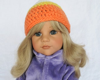 Hand Crocheted Candy Corn 18 inch American Doll Cap Hat